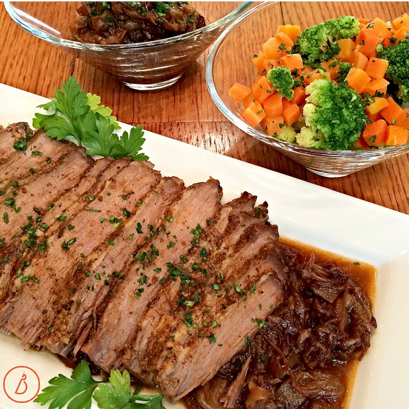 Oven Smoked Brisket and vegetables
