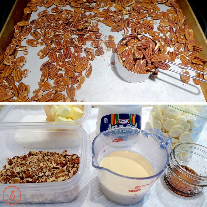 For best flavor, toast nuts first, let cool, then chop. Measure out all ingredients before making fudge.