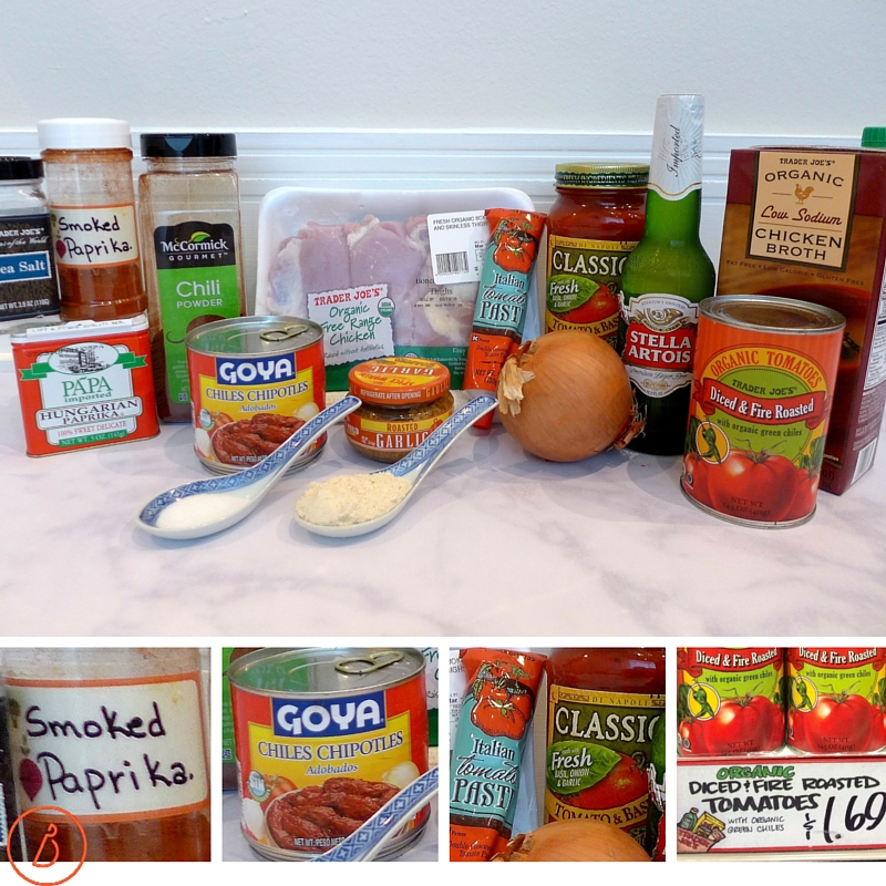 What you need to make slow cooked chicken chili.