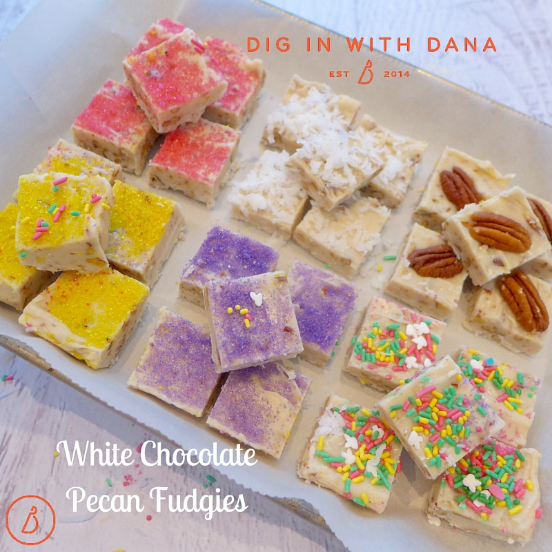 White Chocolate Pecan Fudgies are the perfect sweet ending to any celebration. Dig in!