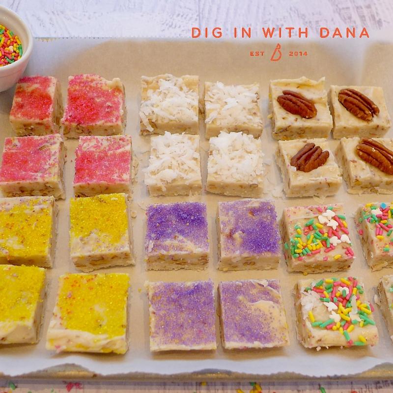 White Chocolate Pecan Fudgies with Sprinkles. Recipe and ideas at diginwithdana.com