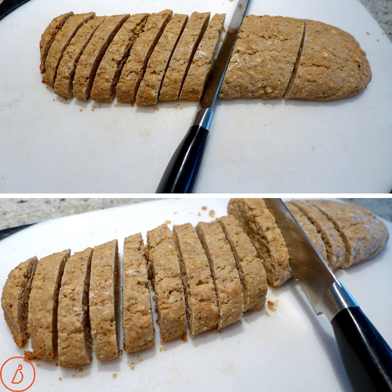 Cut on the diagonal into 16 -18 slices per loaf, then bake again for 35 minutes at 300 F.