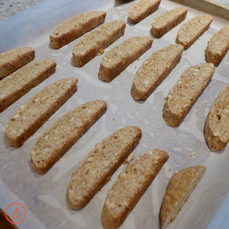 Sliced biscotti ready for second baking.