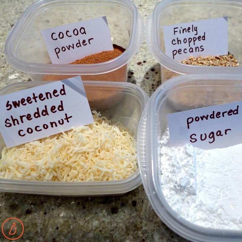 Optional coatings for truffles- cocoa powder, chopped nuts, shredded coconut or powdered sugar.