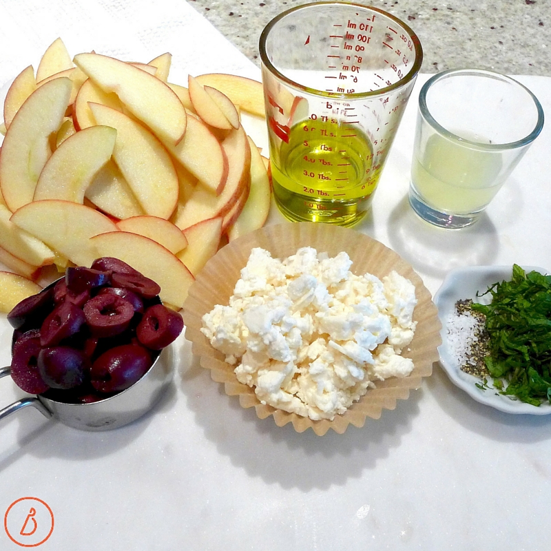 Get set up for Fruity Greek Salad-Slice fruit and herbs, measure out oil, lemon juice, feta, salt and pepper