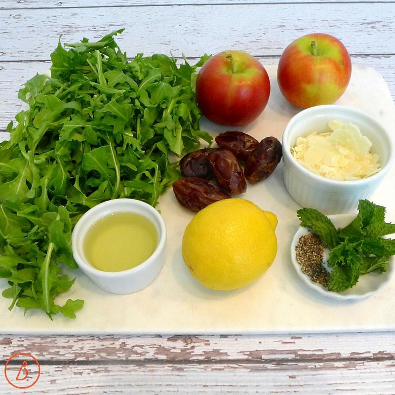 Ingredients for arugula apple salad