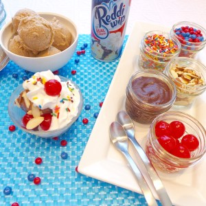 Dig in to Banana Ice Cream Sundaes-( GF and Vegan) Pure frozen banana sorbet with your choice of toppings!
