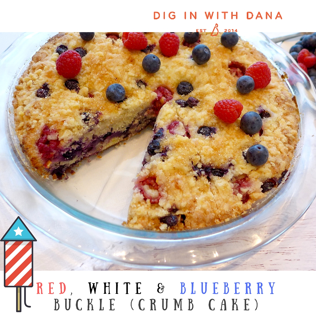 Red white and blueberry buckle is part cake, part fruit cobbler and totally delicious! Easy to make and serve straight from the pan. Recipe at diginwithdana.com