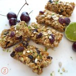 Easy, good for you honey granola bars with dried cherries and fresh lime zest