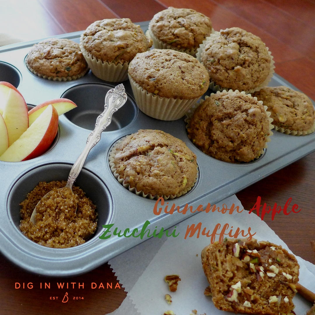 Moist, fool proof muffins you can vary to your liking. Cinnamon Apple Zucchini Muffin recipe and helpful photos at diginwithdana.com