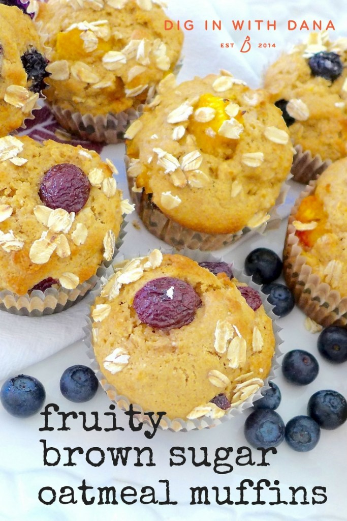 Fruity Brown Sugar Oatmeal Muffin recipe and variations at diginwithdana.com