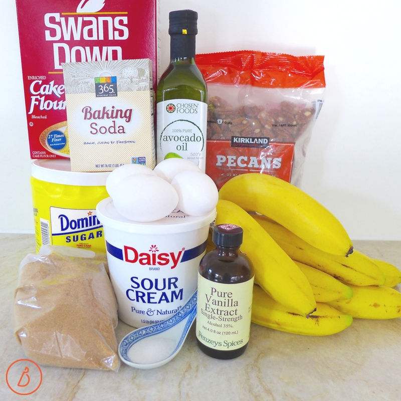 Gather your ingrdients for Glazed Banana Bundt Cake. Recipe at diginwithdana.com