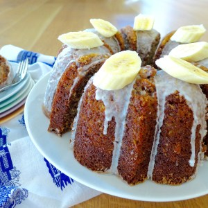 Glazed Banana Pecan Bundt Cake recipe and ideas at diginwithdana.com