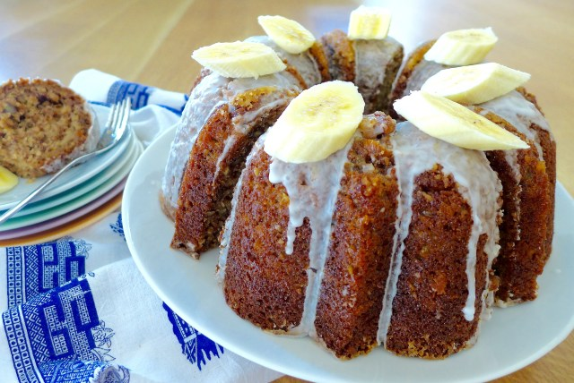 Glazed Banana Pecan Bundt Cake