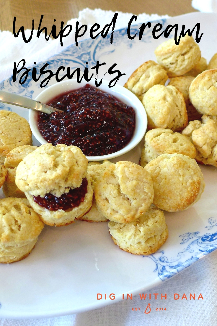 Whipped Cream Biscuits can be small or big, savory or sweet. Recipe at diginwithdana.com