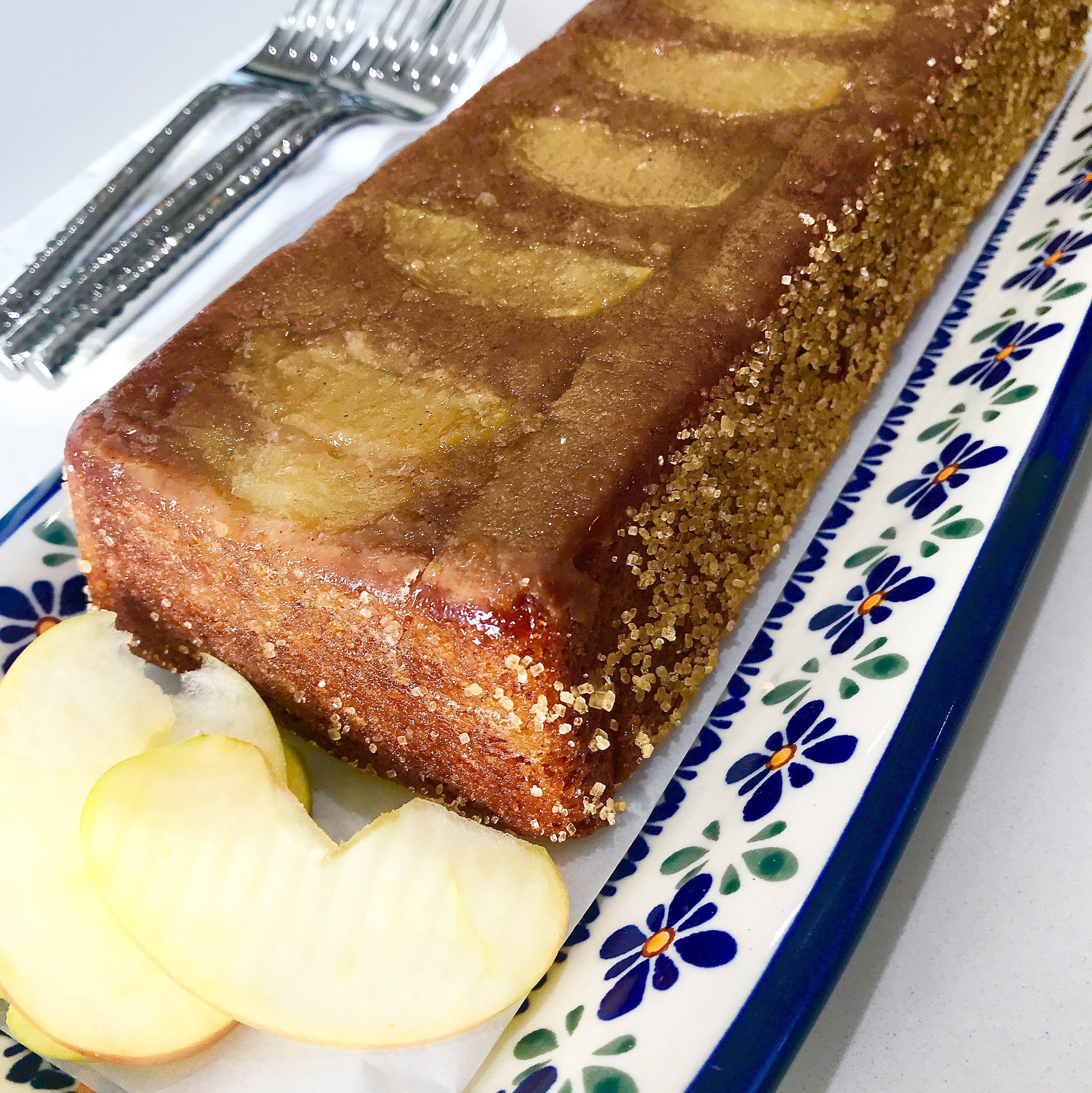 Use applesauce instead of pumpkin and apples on the bottom for a delicious, show stopping Brown Sugar Double Apple Bread.