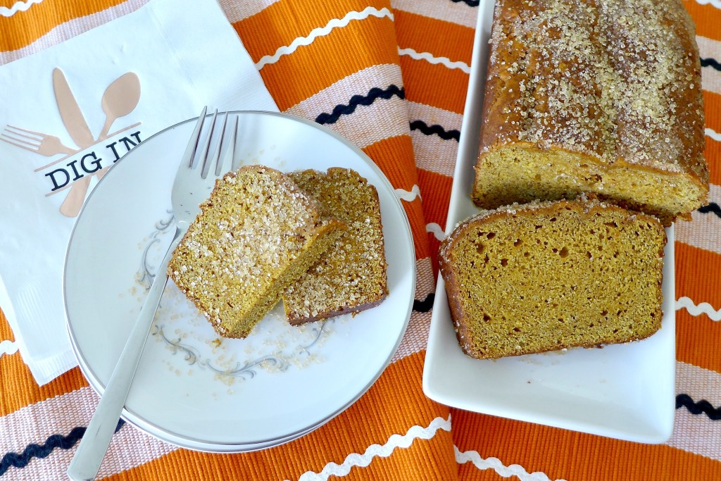 Brown Sugar Pumpkin Bread with Raw Sugar topping