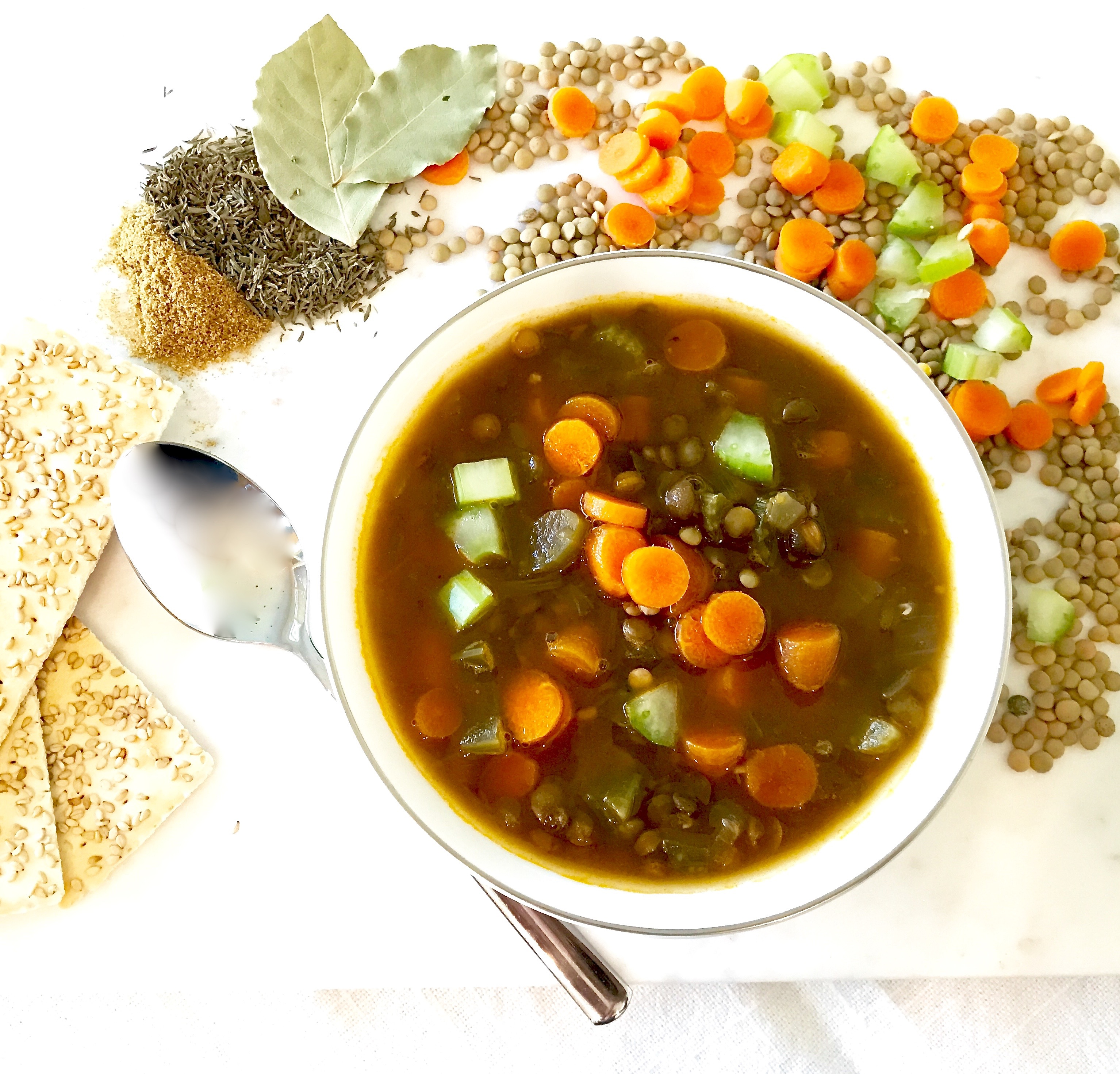 Oh So Simple Lentil Soup recipe is gluten free, healthy, vegetarian and can be vegan at diginwithdana.com.