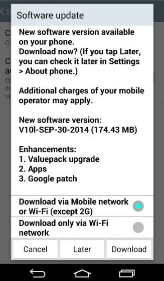 LG G3 OTA Update Notification