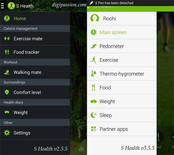 S Health 2.5 vs 3.5 Menu Side-by-Side