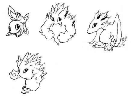 (Diseños de monstruos para 'Capsule Zaurus'.)
