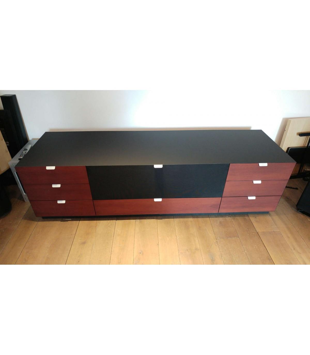 meuble tv chene huile noir