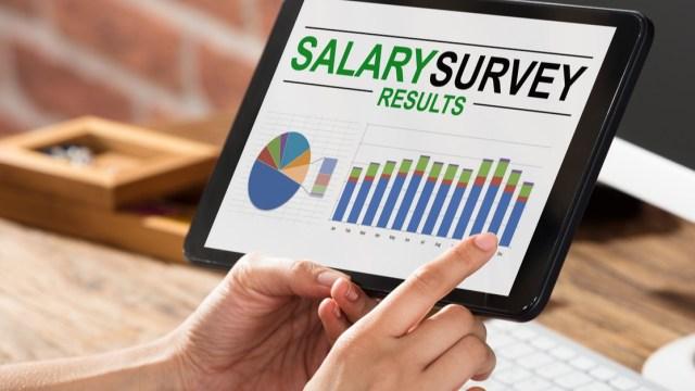 salary survey shown on ipad