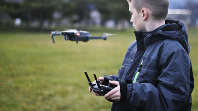 child using a drone