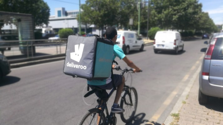 Deliveroo rider on a bike