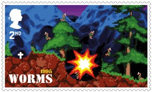Video Games Worms 1995 stamp