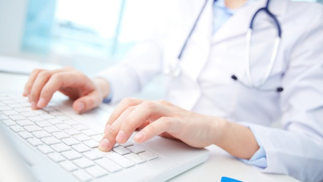 doctor using keyboard