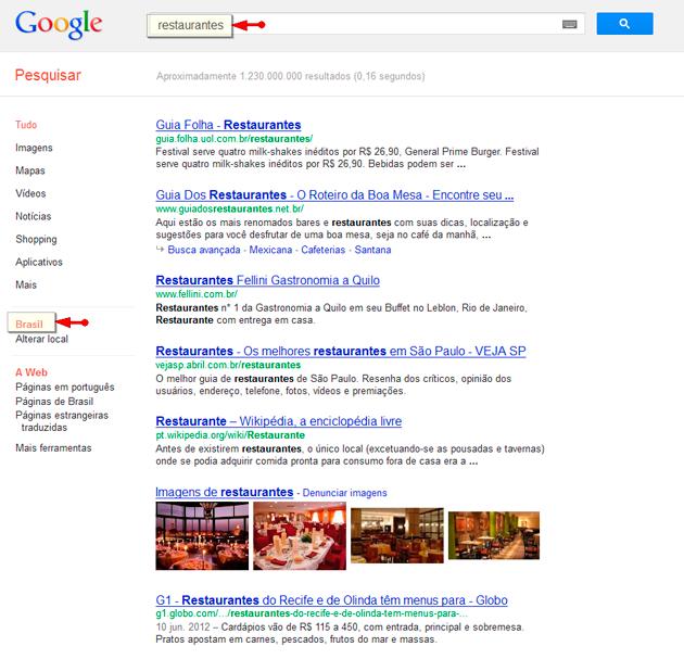 Página de Resultado de Pesquisa no Google Brasil