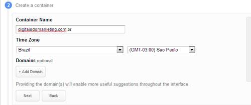 Criando perfil no Google Tag Manager