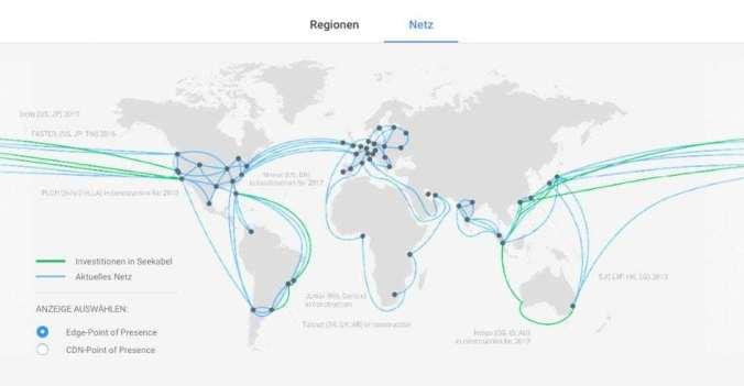 Google Backbone-Netzwerk weltweit