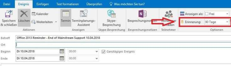 Einstellung der Erinnerung des Produkt LifeCycle Reminders in Outlook