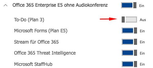 Darstellung der Aktivierung Microsoft Office 365 To-Do innerhalb des Office 365 Admin center