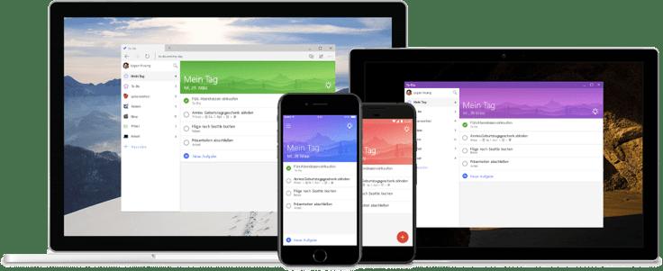 Darstellung der Microsoft To-Do App auf einem Computer, iPhone und iPad