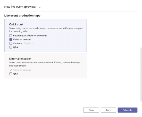 Übersicht Microsoft Teams Live Events Quick Start/ External Encoder