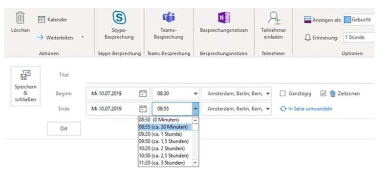 Aktiverung eines automatischen Zeitpuffer bei der Planung von Meetings