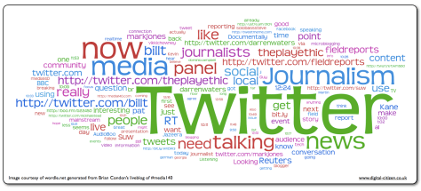 Wordle based on media140 liveblog