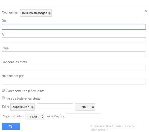 Gmail au profit de notre productivité individuelle - Barre de recherche détaillée