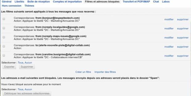 Gmail au profit de notre productivité individuelle - Filtres automatiques