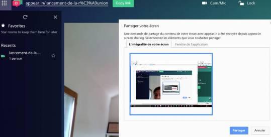 Réunion productive : partage et présentation sur appear-in