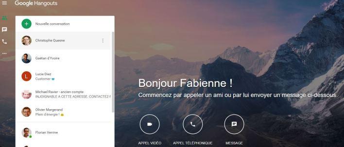 Messagerie instantanée : Google hangouts chat