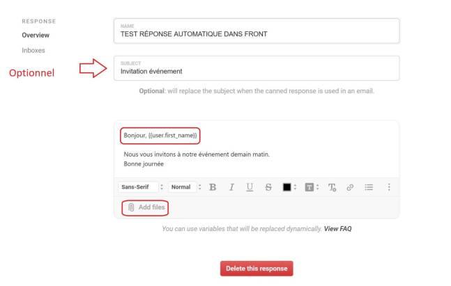 Front Apps : Réponses automatiques + champs personnalisables