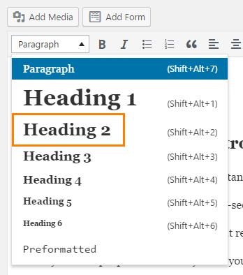 header 2 tag