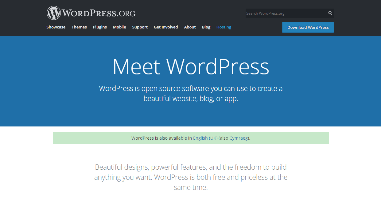 Screenshot of WordPress.org homepage