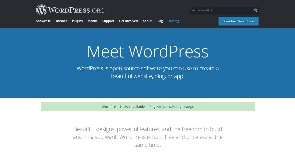Screenshot of WordPress.org homepage