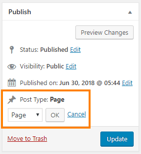 WordPress Post Type Switcher options