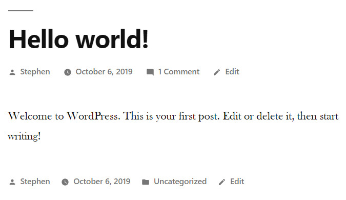 Screenshot of the sample 'hello world' post that's included in the default setup of WordPress